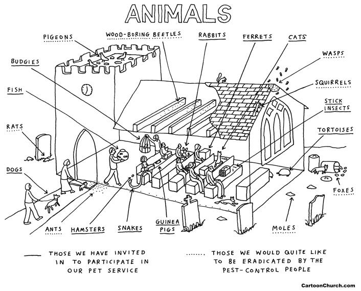 Church pet service cartoon