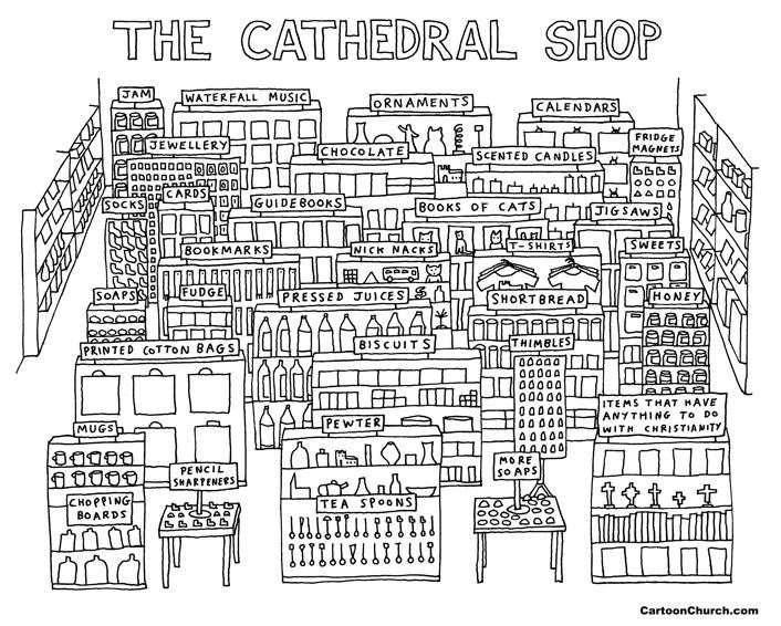 Cathedral shop cartoon