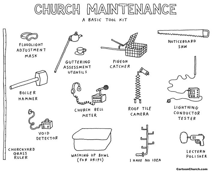Church maintenance cartoon