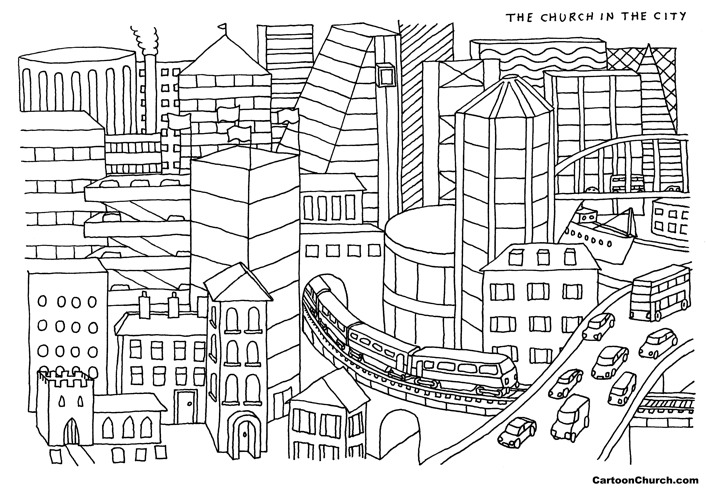 Church in the City colouring page