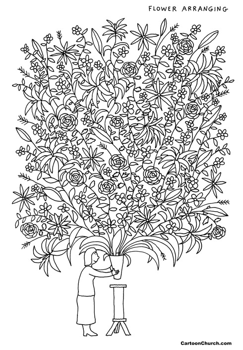 Flower arranging colouring page
