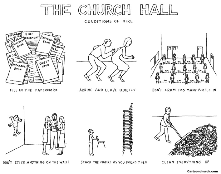 Church hall cartoon