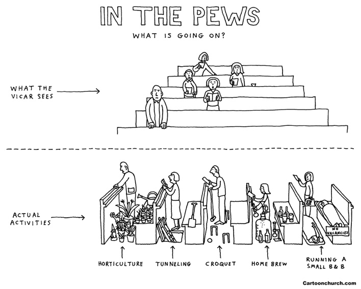 In the pews cartoon