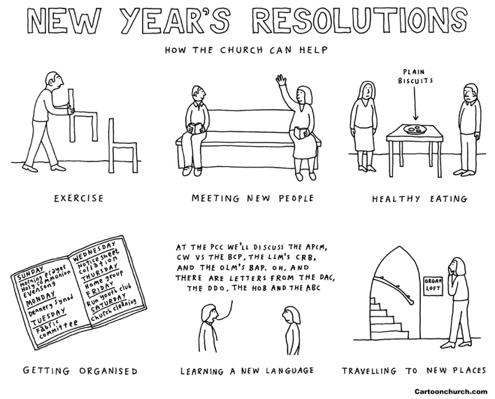 New Year's resolutions cartoon