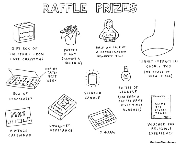 Raffle prizes cartoon