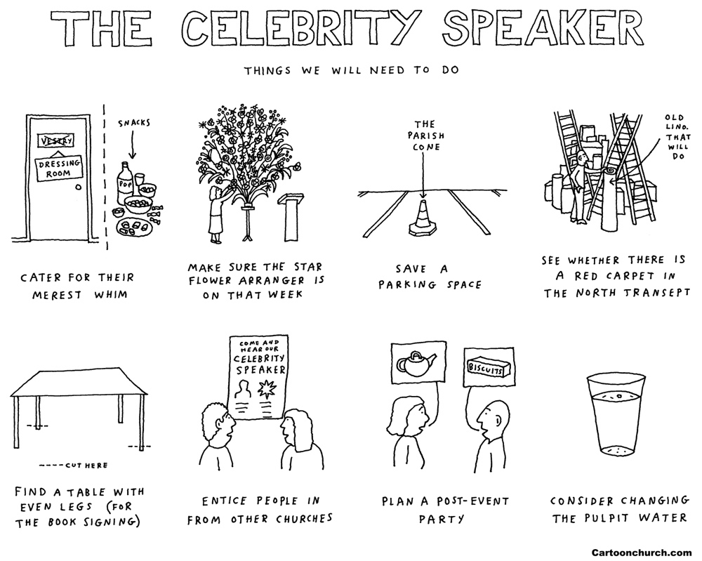 Celebrity speaker cartoon