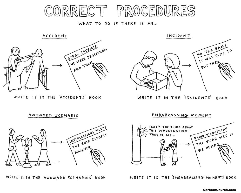 correct procedures cartoon