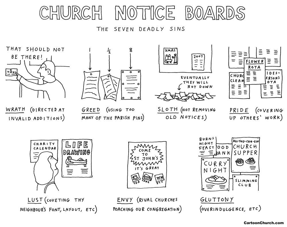 church notice boards cartoon