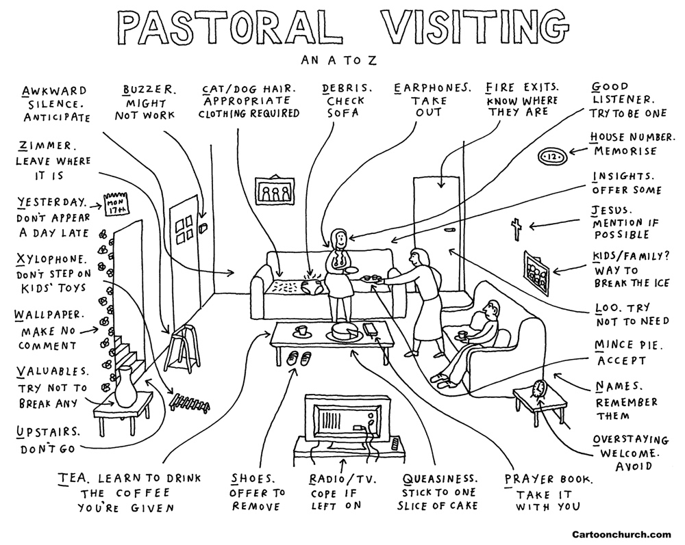 Pastoral visiting cartoon