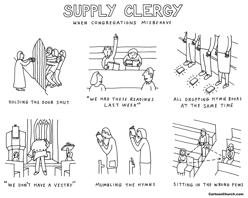 supply clergy cartoon