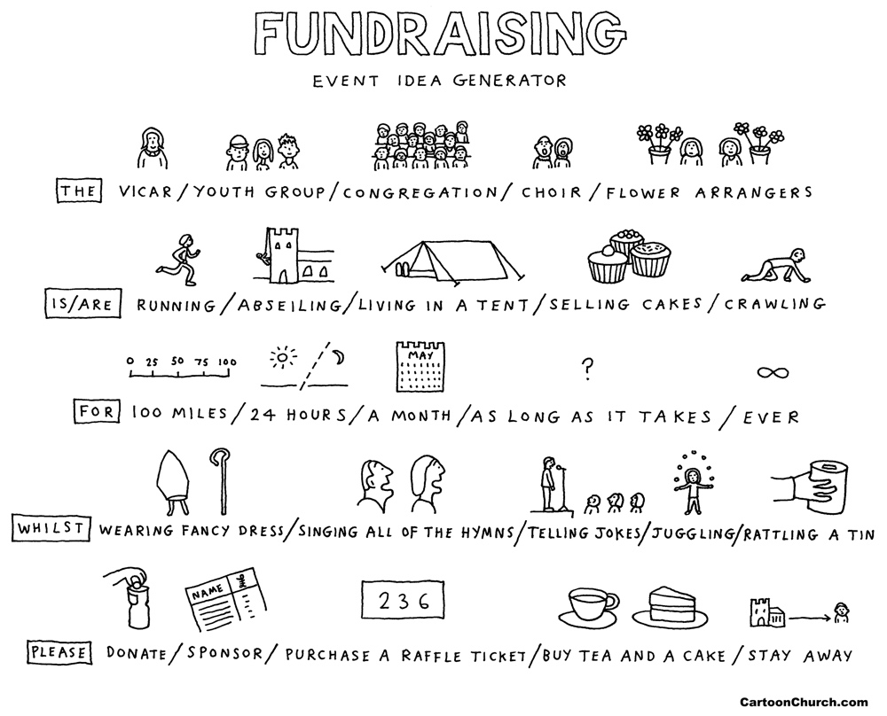 Fundraising cartoon