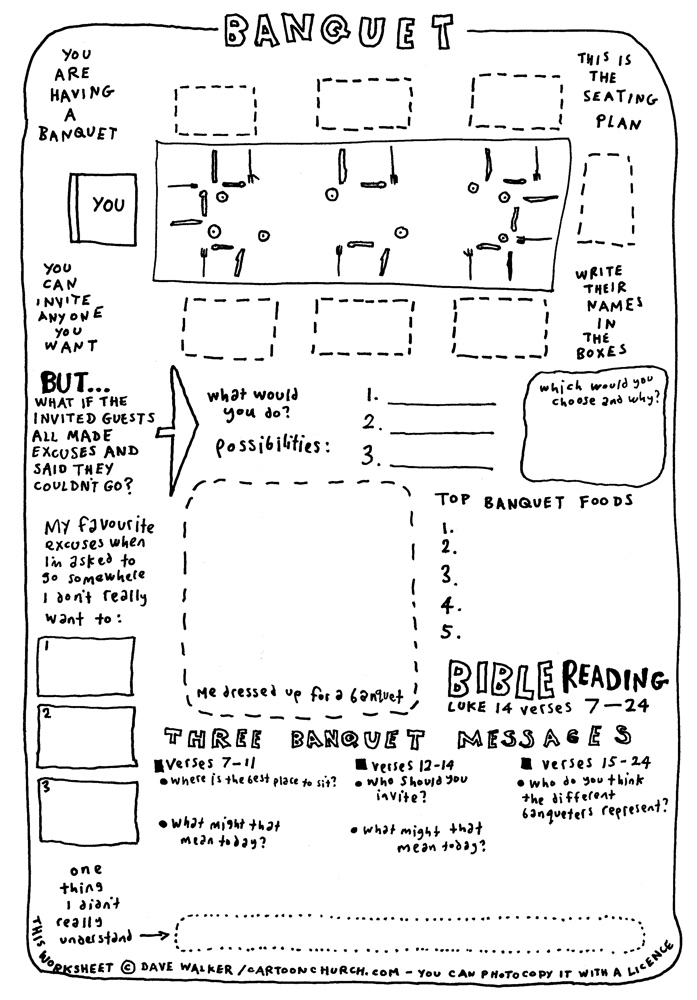 cartoon worksheet - Banquet