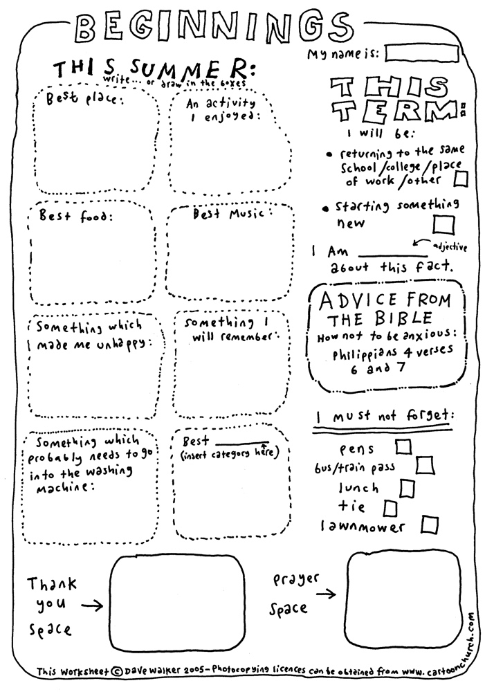 cartoon worksheet - Beginnings
