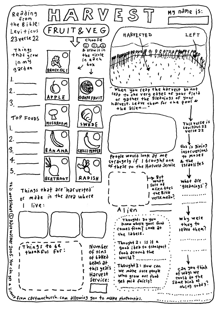 cartoon worksheet - Harvest