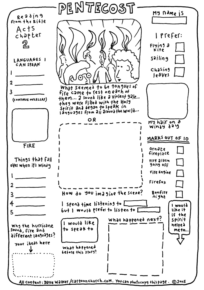 cartoon worksheet - pentecost